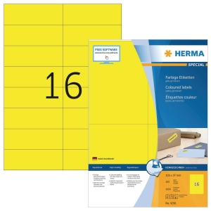 Herma 4256 coloured labels 105x37mm yellow - box of 1600