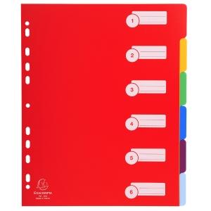 Exacompta neutrale tabbladen extra sterk 6 tabs PP 11-gaats