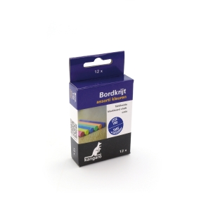 Stofvrij krijt assorti kleuren - doos van 12 stuks