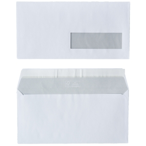 FSC envelopes 110x220mm peel and seal window right 80g - box of 500