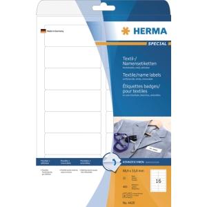 Herma 4420 textiel etiketten 88,9x33,8mm wit - doos van 400
