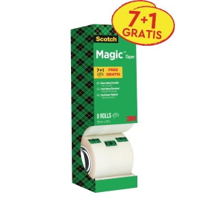Scotch® Magic™ Tape 810, onzichtbaar, B 19 mm x L 33 m, voordeelpak 7+1 GRATIS