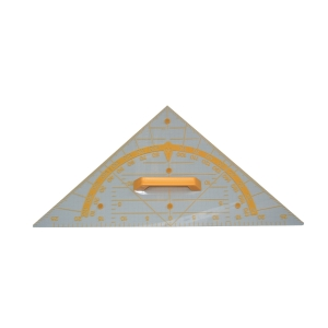 Geodriehoek voor bord transparant 60 cm