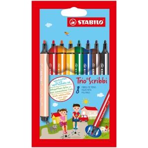 Stabilo Trio Scribbi kleurstiften assorti kleuren - pak van 8