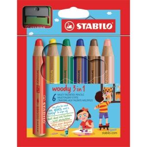 Stabilo woody 3-in-1 met slijper - pak van 6