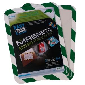 Magnetische zelfklevende kader A4 groen/wit - pak van 2