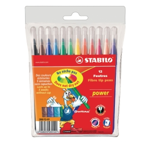Stabilo power 280 felt pens assorted colors  - pack of 12