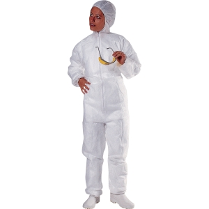 Disposable hooded overall polypropylene - size M - white