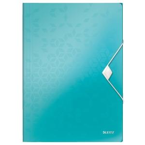Leitz 4599 WOW elastomap met 3 kleppen ijsblauw