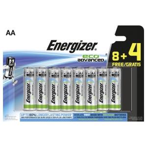 Energizer Eco Advanced alkaline batterijen AA - pack van 8+4 gratis