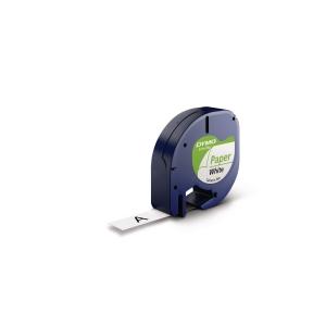 Dymo Letratag 91200 etiketteerlint op tape, papier, 12 mm, zwart op wit