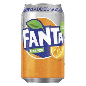 Fanta Orange Zero frisdrank, pak van 24 blikken van 33 cl