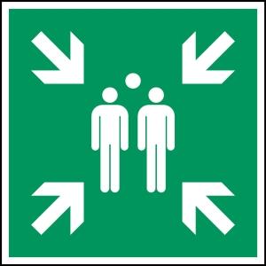 Brady pictogram bidirectional E007 Evacuation assemply point 203x203 mm