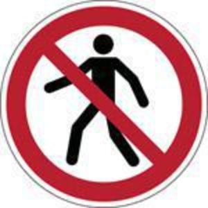 Brady P004 verbodsteken verboden voor voetgangers, zelfklevend, 315 mm, per stuk