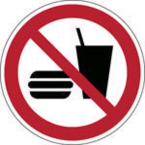 Brady PP pictogram P022 No eating of drinking 100mm