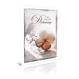 Wenskaarten innige deelneming met bruine bladeren Nederlands - pak van 6
