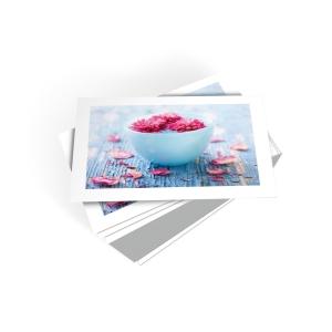 Wenskaarten met bloemen in waterkommetke - pak van 6