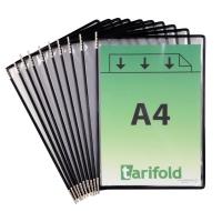 Tarifold 114007 poches d affichage en métal et PVC noir - paquet de 10
