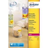 Avery L7263y étiquettes fluorescentes 99,1x38,1mm jaune - boite de 350