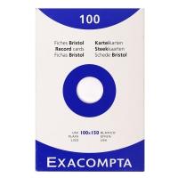 Exacompta fiches unies 100x150mm blanches - paquet de 100