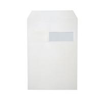 Pochettes 229x324mm bande siliconée fenêtre droite 120g blanches - boite de 250