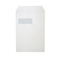 Pochettes 229x324mm bande siliconée fenêtre gauche 120g blanches - boite de 250