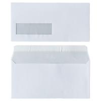 Enveloppes FSC 110x220mm bande siliconée fenêtre à gauche 80g - boite de 500