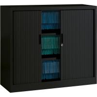 Armoire à rideaux Ariv avec 2 tablettes 120 x 105 x 43 cm - noir