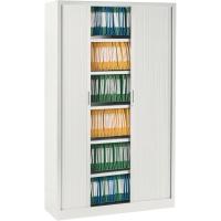Armoire à rideaux Ariv avec 4 tablettes 120 x 198 x 43 cm - blanc