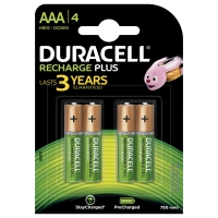 Duracell Recharge Plus Piles Rechargeables type AAA 750 Mah, Lot de 4