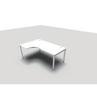 Bureau Conect Wave Asymétrique 160x180 cm avec pieds Bridge gauche - blanc