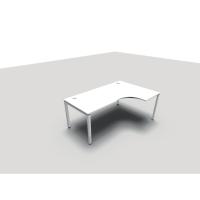 Bureau Conect Wave Asymétrique 160x180 cm avec pieds Bridge droit - blanc