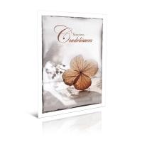 Cartes de voeux condoleances avec des feuilles brune en Français - pack de 6
