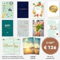 Cartes de voeux assortiment box en Français - boîte de 72