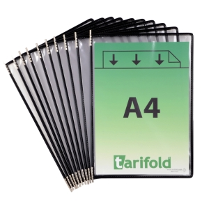 Tarifold 114007 pockets for display system in metal/PVC black - pack of 10