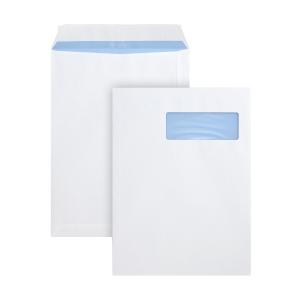 Pochettes 230x310mm bande siliconée fenêtre droite 100g blanches - boite de 250
