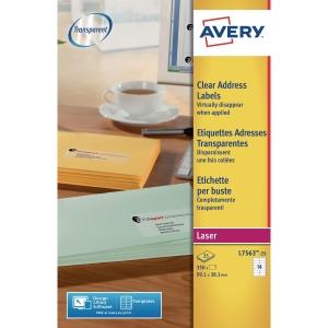 Avery L7563 étiquettes transparentes 99,1x38,1mm - boite de 350