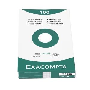 Exacompta fiches lignées 125x200mm blanches - paquet de 100