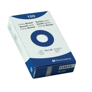 Exacompta fiches unies 75x125mm blanches - paquet de 100