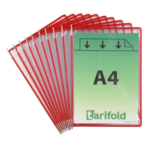 Tarifold 114003 pockets for dispaly system in metal/PVC red - pack of 10