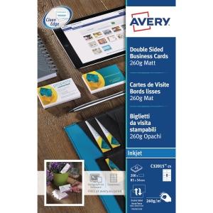 Avery C32015 cartes de visite jet d encre 85x54mm 260g - mate - boite de 200