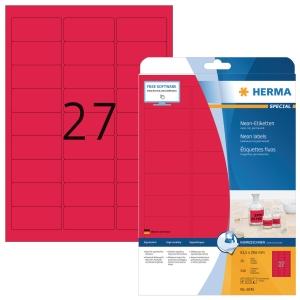 Herma 5045 étiquettes fluorescentes 63,5x29,6mm rouge - boite de 540