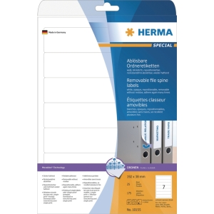Herma 10155 étiquettes repositionnables pour classeur 192x38mm - boîte de 175