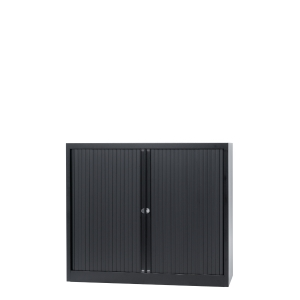 Armoire à rideaux avec 2 tablettes - noir