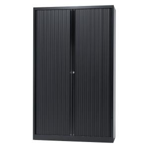 Armoire à rideaux avec 4 tablettes - noir