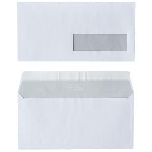 Enveloppes FSC 110x220mm bande siliconée fenêtre à droite 80g - boite de 500