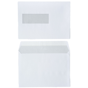Enveloppes FSC 156x220mm bande siliconée fenêtre à gauche 80g - boite de 500