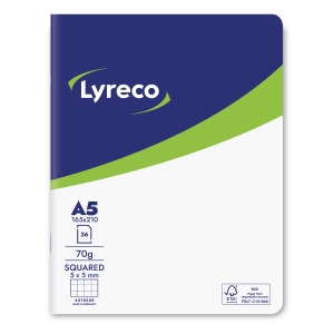 Lyreco cahier d école FSC A5 210x165mm quadrillé 5x5mm 36 feuilles