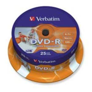 Verbatim DVD-R 4.7GB vitesse 1-16x imprimable cloche - paquet de 25