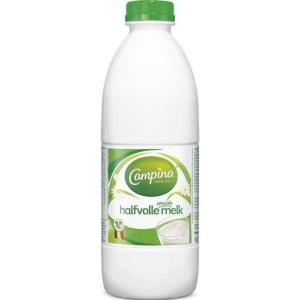 Campina lait demi-écrémé bouteille en plastique 1 l - paquet de 6
